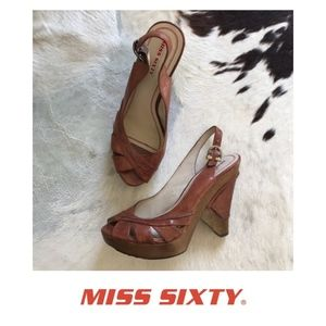 MISS SIXTY LEATHER & WOOD SLINGBACK WEDGE SANDAL 8